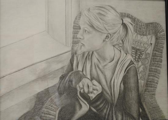 A pencil sketch titled olivia featuring a teenage girl with clasped hands looking out through a window created by emily wildhaber of arygle mo